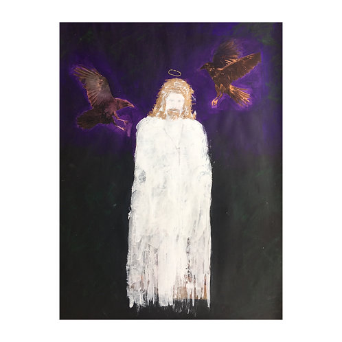JESUS AND THE RAVENS PAINTING