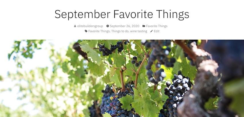 September Favorite Things by Elite Builders Group
