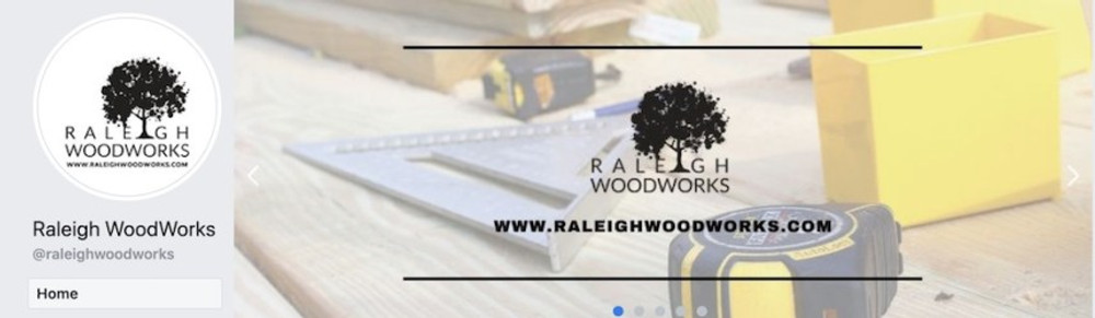 profile picture and cover photo for raleigh woodworks