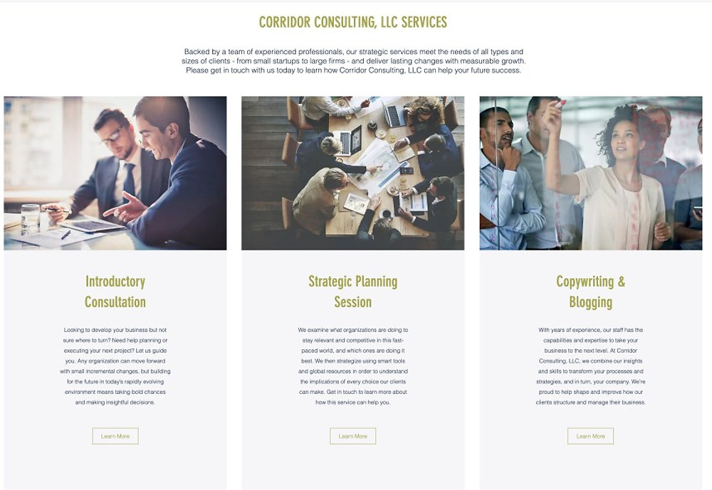 services page from corridor consulting