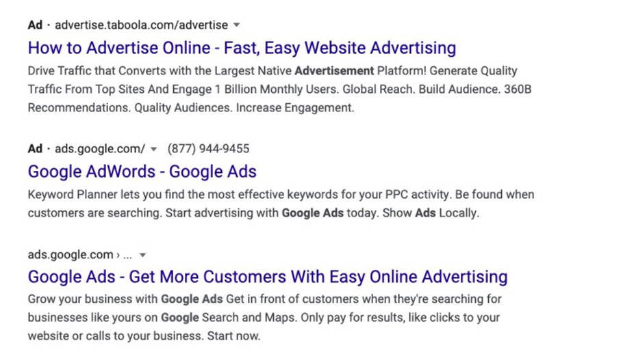 a google ad for Google Ads