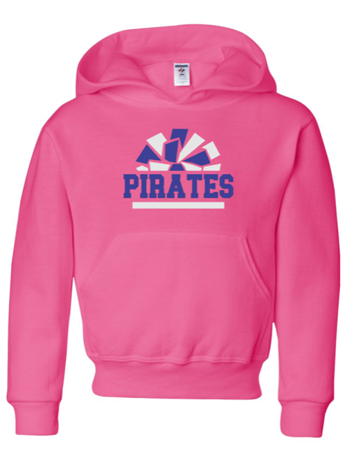 """Pirates Pom Pom"" Youth Hooded Sweatshirt"