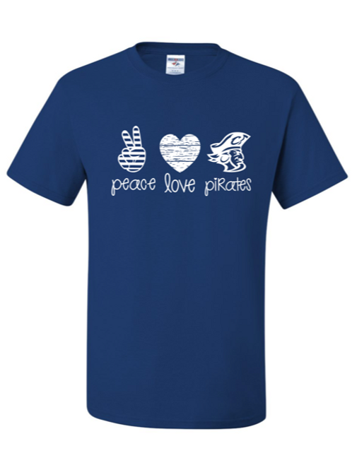 """Peace. Love. Pirates."" Adult Short Sleeve Tee"