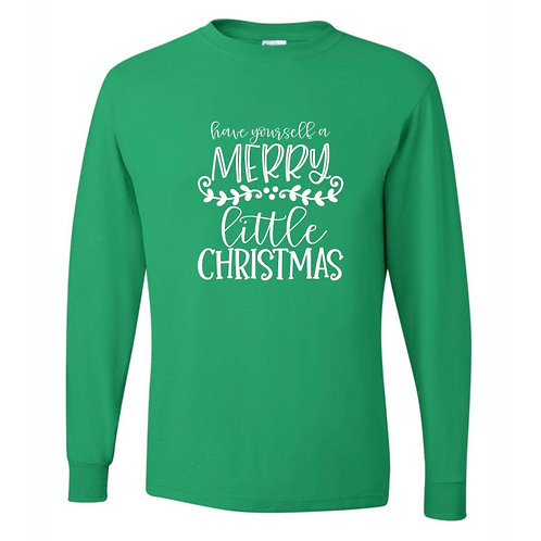 """""""Merry Little Christmas"""" Adult Long Sleeve Tee"""