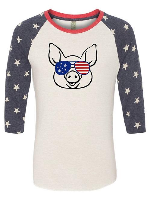 """American Pig"" Baseball Tee"