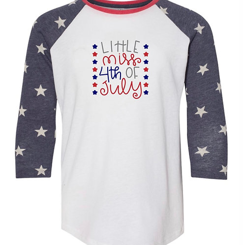 """Little Miss 4th of July"" Youth Baseball Tee"