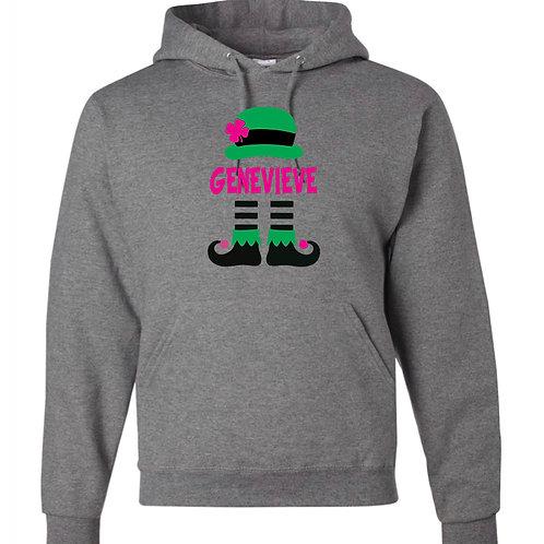 """""""Girl's Personalized Leprechaun"""" Hooded Sweatshirt"""