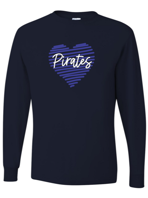 "Scribble Heart ""Pirates"" Adult Long Sleeve Tee"