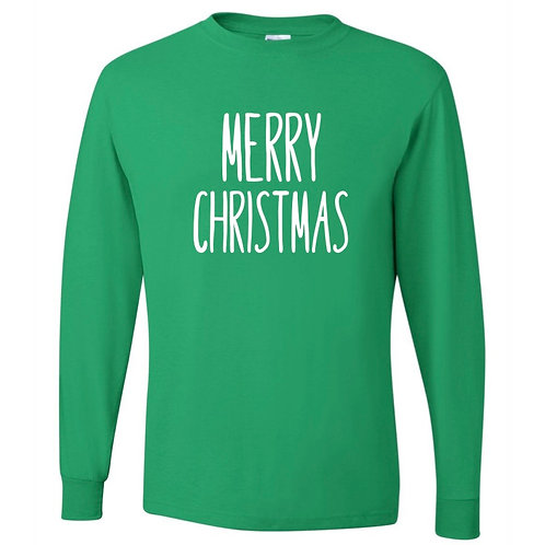 """Merry Christmas"" Adult Long Sleeve Tee"