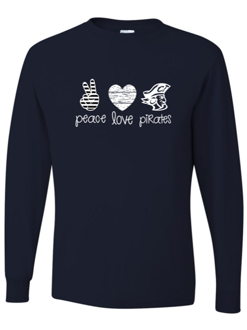 """Peace. Love. Pirates."" Youth Long Sleeve Tee"