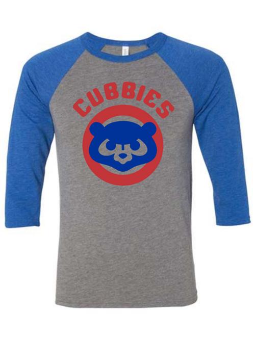 """Cubbies"" Blue & Gray Adult Baseball Tee"