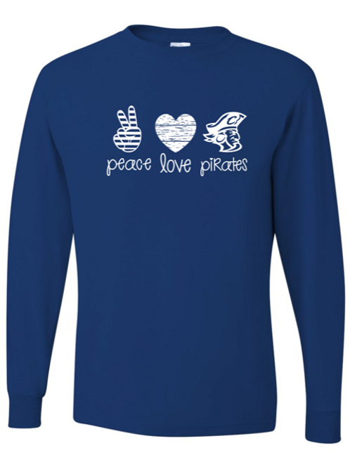 """Peace. Love. Pirates."" Adult Long Sleeve Tee"