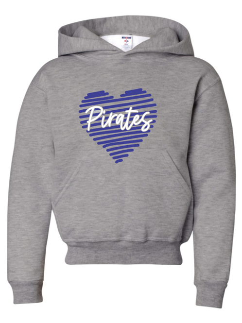 """Scribble Heart """"Pirates"""" Youth Hooded Sweatshirt"""