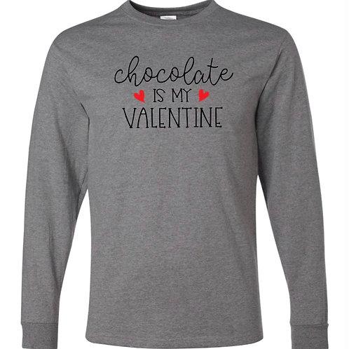 """Chocolate is My Valentine"" Long Sleeve Tee"