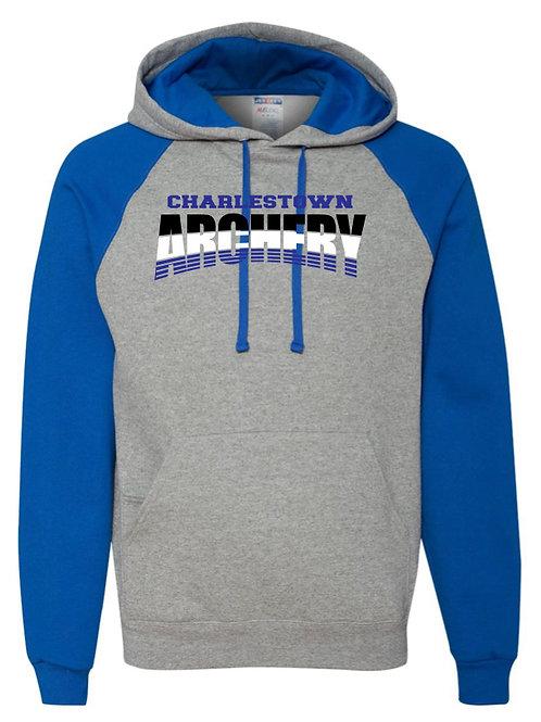"""""""Charlestown Archery"""" Raglan Hooded Sweatshirt"""
