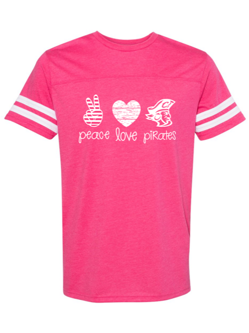 """Peace. Love. Pirates."" Adult Football Jersey Tee"