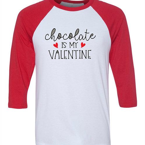 """Chocolate is My Valentine"" Baseball Tee"