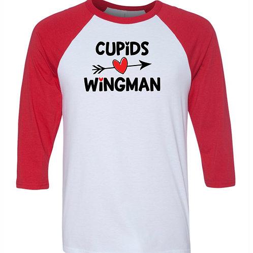 """""""Cupid's Wingman"""" Baseball Tee"""