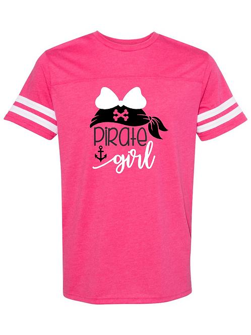 """Pirate Girl"" Adult Football Jersey Tee"