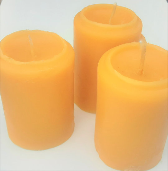 Pure Beeswax Pillar Candles Three Pack