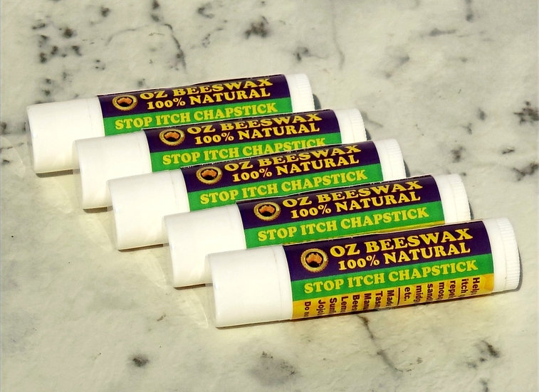 Oz Beeswax Stop Itch & Repellant Chapstick - 5 Pack