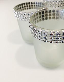 opaque glass diamante small votives