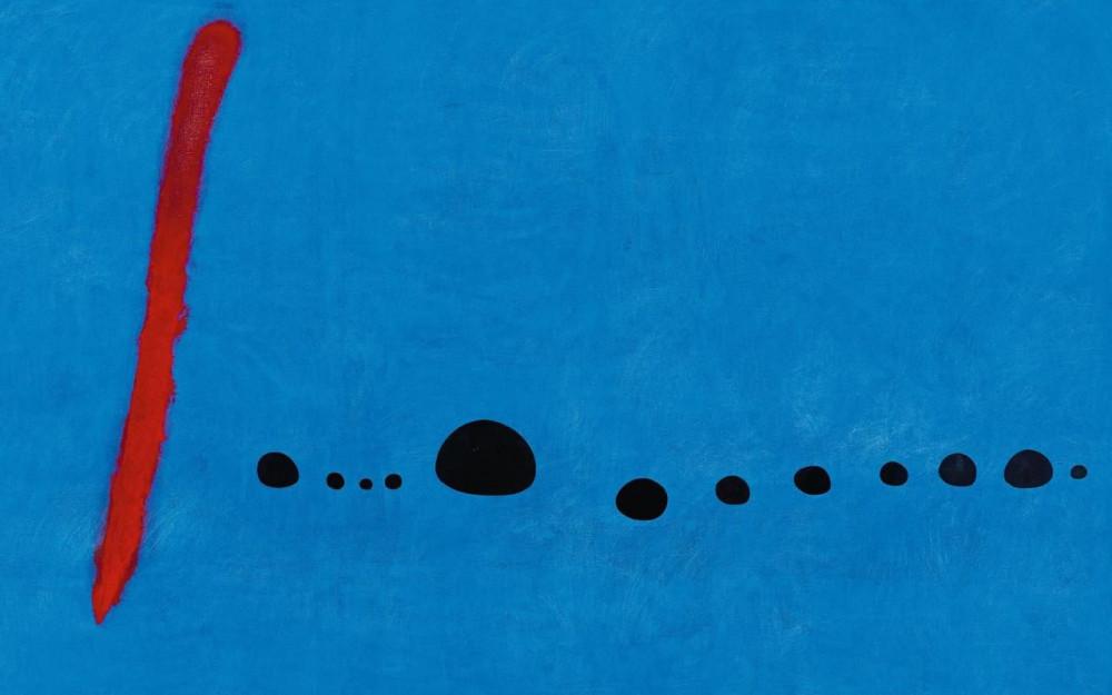 «Bleu II», 4 mars 1961, huile sur toile, 270 x 355 cm, France, Paris, Centre Pompidou, Musée national d'art moderne, don de la Menil Foundation en mémoire de Jeande Menil, 1984. Successió Miró/Adagp, Paris 2018/Centre Pompidou, MNAM-CCI, dist. Rmn-Grand Palais/Philippe Migeat