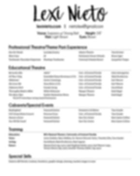 Lexi Nieto B&W Theatre Resume 2020 WEBSI