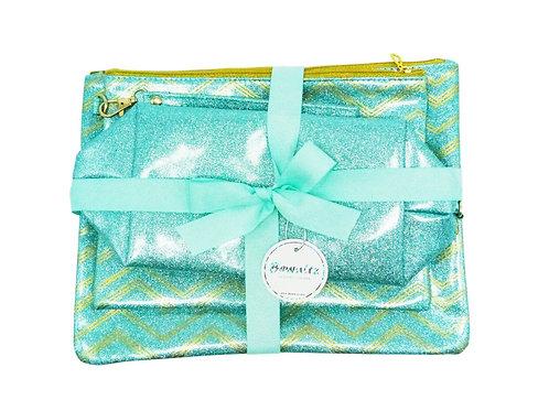 Glitter Makeup Bag Set - Green