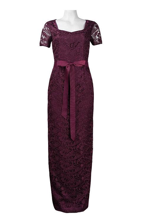 Adrianna Papell Half Sleeve Bow Tie Waist Crochet Lace Full Length