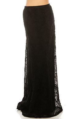Adrianna Papell Black High Waisted Rosette A-Line Full Length Skirt