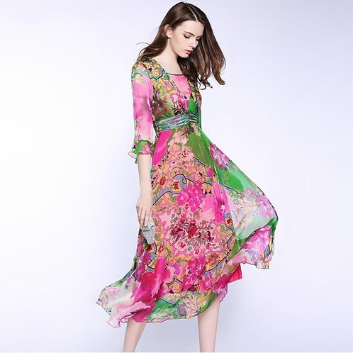 100% Natural Silk Dresses 2019 Womens High Quality Half Sleeve Floral