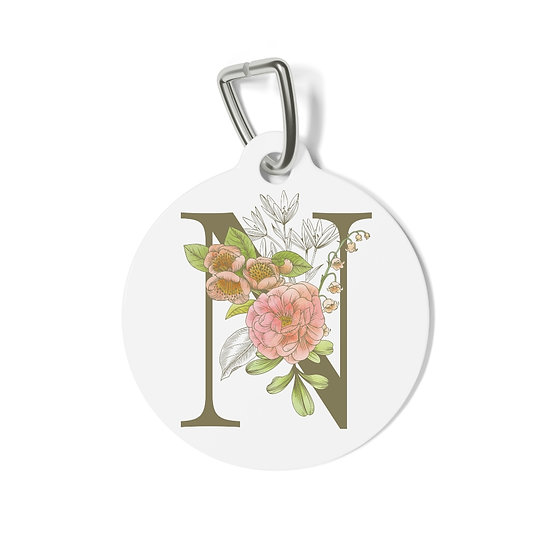 Personalized Floral Pet Tag - N