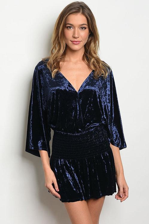 Womens Navy Velvet Dress