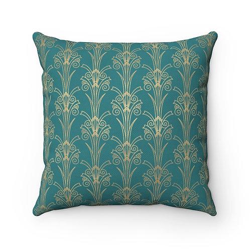 Gold Art Deco Tulip/Blue Stone Spun Polyester Square Pillow
