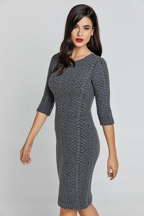 Dark Grey Jacquard Dress By Conquista