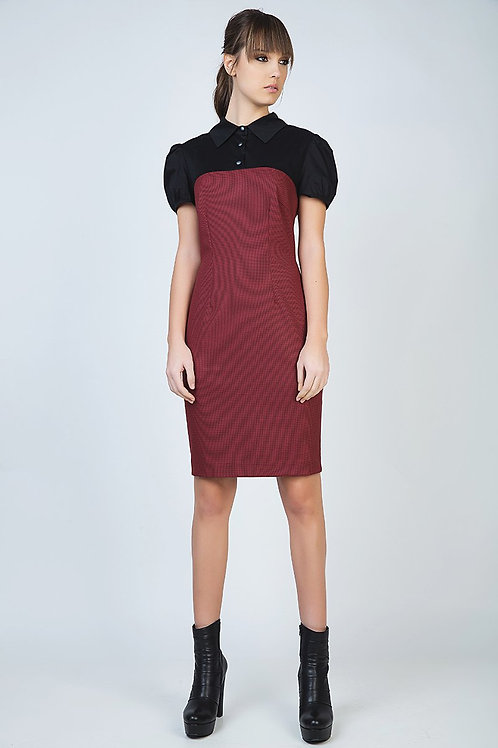 Puff Sleeve Fitted Dress with Button Detail