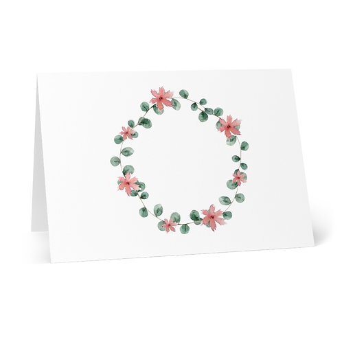Blushed Roses Wreath 2 Greeting Cards (8 pcs)