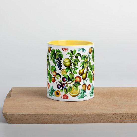 Fruits on White Mug with Color Inside
