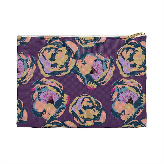 Magenta and Peonies Accessory Pouch