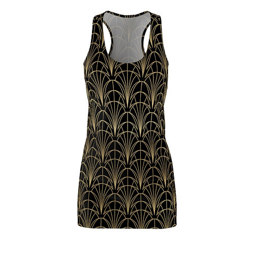 Art Deco on Black Racerback Dress