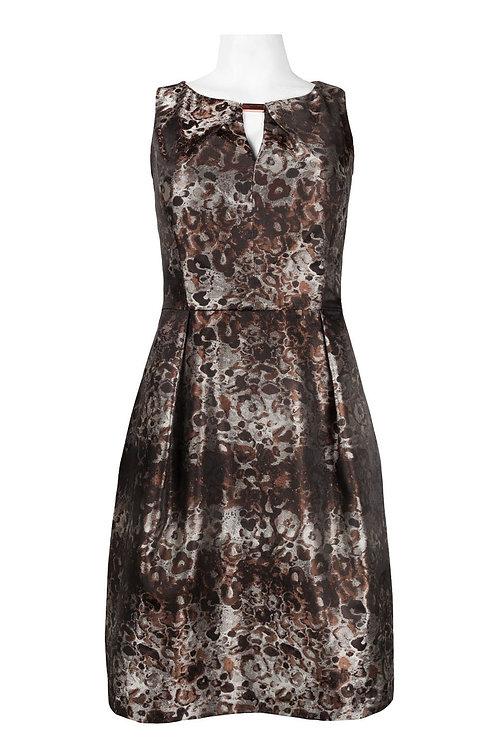 Donna Ricco Keyhole Neckline Pleat Detail Abstract Brocade Dress