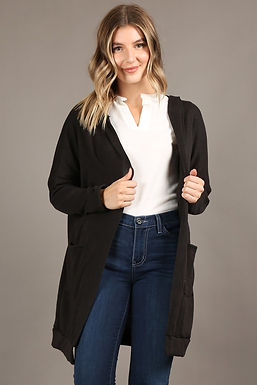 1180H Long body, open cardigan hoodie, long sleeves, front pockets