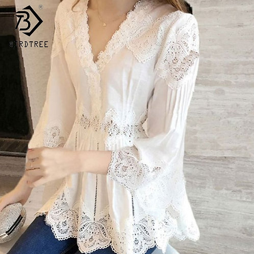 3/4 Sleeve V Neck Cotton  Lace Trim Blouse