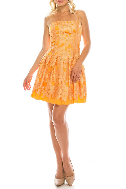 Adrianna Papell Marigold Embroidered Lace Over Satin Twill A-Line