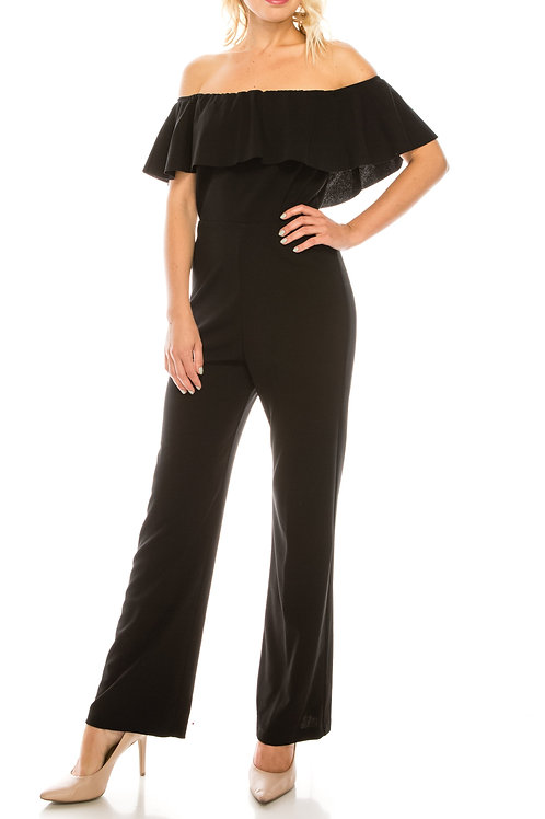 Bebe Black Crepe Off-the-Shoulder Flounced Jumpsuit