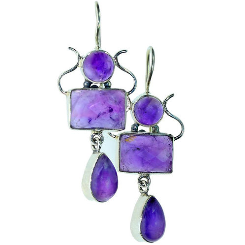 Crown Chakra Amethyst Artisan Handmade Earrings