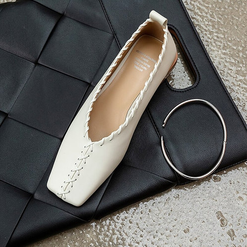 Genuine Leather Square Toe Flats with Ankle Band