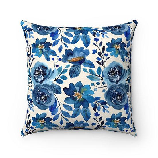 Blue Rose Garden Faux Suede Square Pillow