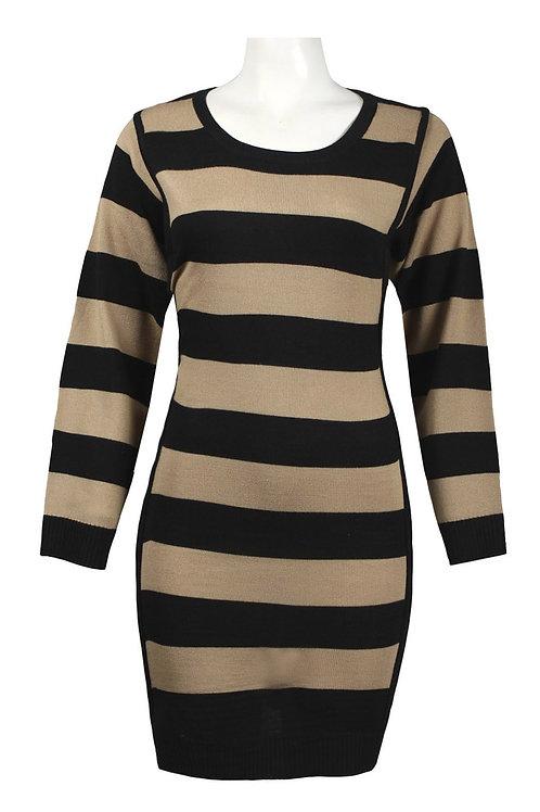 Long Sleeve Stripe Knit Dress. By Nina Leonard.<br><br>